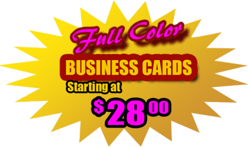 Full Color Business Cards Starting at $28.00